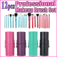 New 12pcs 12 Professional Makeup Brush Set Cosmetic Brush Kit Makeup Tool with Cup Leather Holder Case Rose Purple Black Green