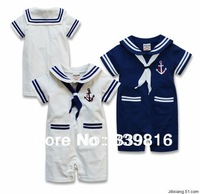 2014 New Arrival Summer Baby Boy's Seaman Sailor Rompers for Infantil Navy Costume Clothing 12M/18M/24M (Blue & White Optional)