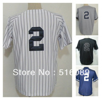 Free Shipping #2 Derek Jeter Men's Baseball Jersey,Embroidery and Sewing Logos,size M--3XL,Accpet Mix Order