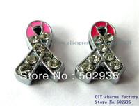 100pcs  8mm Rhinestone Pink Ribbon slide Charms DIY Accessories Fit wristbands