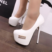 2014 Rhinestone platform ol single shoes  women's shoes 16cm high-heeled shoes wedding shoes white black women's pumps