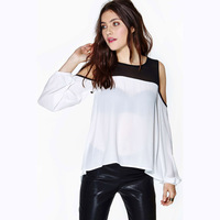 Black and white strapless patchwork o-neck long-sleeve pullover shirt chiffon shirt cuff elastic