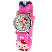 Free Shipping  retail 1pcs Pink Hello kitty 3D Cartoon Silicone Kids Childrens Girls Quartz Casual Wrist Watch Watches
