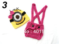 Free shipping Handmade Crochet  Baby Boy and Girl Photo Prop Set Despicable Me Minion Hat Diaper Cover Overall Suspenders