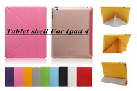 0.2KG 1 pc free shipping Transformers slim good quality leather protective cover fashion holster for New for ipad4 3 2 Tablet PC