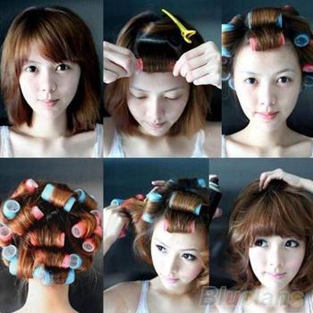 6pcs/set Velcro Grip Cling Hair Styling Roller Curler Hairdressing tool Soft DIY ...