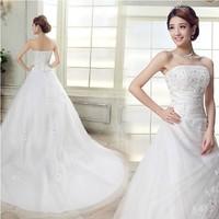 Free Shipping, New Arrival 2014 Sweet Vintage Bandage Tube Top Wedding Dress Princess Bride dresses Drop Shipping, PD0069