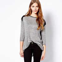 Long-sleeve o-neck black PU patchwork loose female autumn and winter t-shirt basic shirt