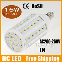 5pcs/lot Free shipping E14 smd 5630 12W 2400 lumen AC220V 240V ledcorn led bulb 60 leds chip Cool White /Warm White