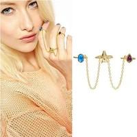 Sheegior 2014 Charming Designer Fashion Exquisite Screw pattern long chains rhinestone gold women rings Free shipping !