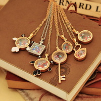 (Mini Order $10 Mix) Colorful Crystal Perfume Bottle Fish Key Swan Necklace Pendants Choker Fashion Sweater Chain(JM-N062)