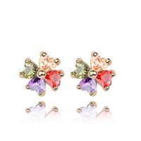 2014 Fashion Jewelry Cubic Zircon Stud Earrings Branded Design 18K Gold Plated CZ Diamond  Accessories For Women