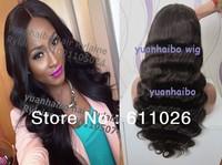 super fashon 6a quality 1b# body wave brazilian virgin human hair full lace wig free shipping
