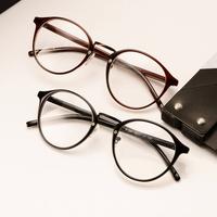 free shipping Fashion vintage plain mirror plate myopia glasses frame big black round eyeglasses frame