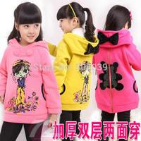 girls autumn 100% cotton cartoon thickening wear plus velet double layer sweatshirt outerwear new type free shipping
