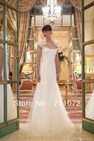 Attractive Elegant Long Cap Sleeve Flowers Formal Princess wedding Dress 2013 New Arrival Europ
