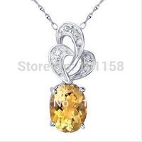Wholesale Korean Fashionsterling silver 925  jewelry, citrine necklace pendants,SP0097C