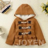 2014 autumn winter fashion horn button children's Hoodie outerwear coat kids Jackets & Coats boys jacket retail A404