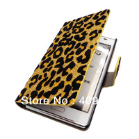 Bling Deluxe leopard leather Wallet Card Holder Stand  Case Cover For  LG Optimus L7 P700 P705