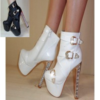 Fashion autumn and winter martin boots 15cm ultra high heels boots thick heel rhinestone boots white wedding shoes boots