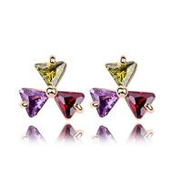 Punk Accessories Jewelry  For Women  Fashion Bijouterie Cubic Zircon Stud Earrings 18K Gold Plated CZ Diamond