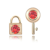 Classic Luxury Bride Fashion Bijouterie Cubic Zircon Stud Earrings Punk Accessories Jewelry For Women 18K Gold Plated CZ Diamond