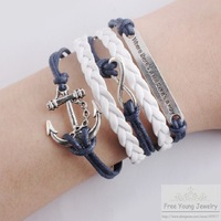 [Free Shipping For 1 Pcs] Hot Sell Boat Anchor Handwork Infinity Bracelet Multilayer DIY Europe America New Leather Bracelets