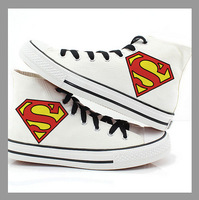 New arrival cartoon superman fashion high top shoes sneakers for men casual flat sneakers women canvas shoes sneakers