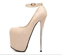 Woman bridal dress sexy ultra high heels 2014 new nude wedding shoes platform cosplay party shoes strappy lady pumps for women'