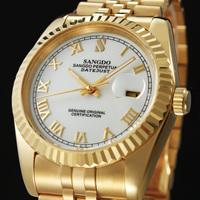 2014 Sonderbund watch male strip 18k gold calendar waterproof mens watch commercial watch