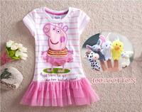 Kid dress girl dress peppa pig clothing new 2013 summer kids tutu lace child dress girl dresses princess baby wear flower  gift