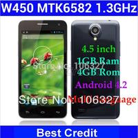"in stock! original Russian black Star W450 phone MTK6582 1.3Ghz Android 4.2 Quad Core 4.5"" 1gb ram 4gb rom 8MP 3G smartphone/Eva"
