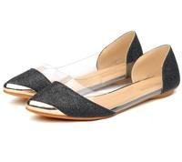 New 2014 Spring Women Flats Autum  Metal Paillette Pointed Toe Transprent Black Gold Glitter