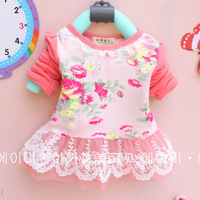 Brand Children's clothes T T 2014 Spring new style Baby Girl's T-shirt Long sleeve lace collar lace hem for 2-4 years old