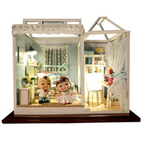 Handmade diy blue dream handmade diy little house model house light Baby house child/couples/wedding gift
