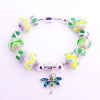 European Charm Bracelet, Trendy Women bracelet with green Murano Bead, High Quality bead bracelet hand bracelets for women-BL202