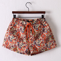 NEW WOMEN ELASTIC DRAWSTRING QUILTING EMBROIDERY PAISLEY PRINT THIN SHORTS