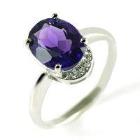 Retro Vintage Antique Charm Romantic Design Fashionable Engagement Natural Amethyst Ring 925 Sterling Silver Free Shipping