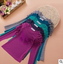 2014 autumn kid girl fashion long sleeve bamboo fiber sequined butterfly t shirt childrren ruffle casual base t-shirt wholesale(China (Mainland))