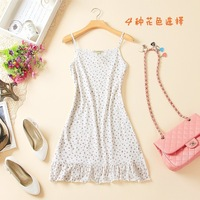 summer one-piece dress cotton women's 100% long vest suspender skirt