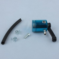 Motorbike Front Brake Clutch Tank Cylinder Fluid Oil Reservoir with Pipe Blue
