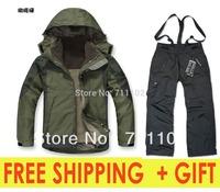 new german men's winter clothing sets jackets outdoor climbing skiing sports coats hoodies pants fleece autumn men A+++ 2014