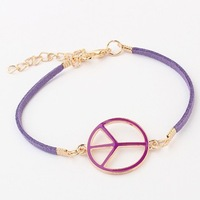 Korean Fashion Women/Girls Vintage Purple Leather Chain Peace Sign Charms Friendship Bracelet Jewelry Wholesale Free Ship#97999