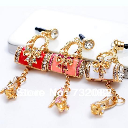 Elegant Colorful Crystal 3.5mm Rhinestones Handbag high heel Cell phone dust plug universal Plug(China (Mainland))