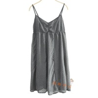 Summer  flock printing dot chiffon spaghetti strap loose one-piece dress chiffon skirt nightgown