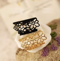 Punk  women jewelry black/Gold color hollow out Flower lace flower finger ring[JR14121(2)*10]