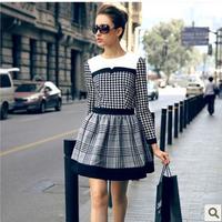 2014 Free Shipping EU Latest Elegant  Women's  Autumn Plaid Vintage Ladies O-neck Long-sleeve Slim One-piece Dress LBR1195
