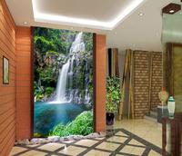 Eco-friendly Fresco waterfall landscape photo wallpaper background wall entranceway sliding door wallpaper Pastroal Murals