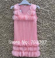 wholesale  Children Tassel pink Flower lace Dress , sleeveless Girls Wear  clothing free shipping   4pcs/lot  0196