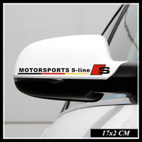Car rearview mirror  garland, 3d reflective adhesive sticker, Sline motorsport car specific for  A3 A5 Q3 Q5 A6L A4L